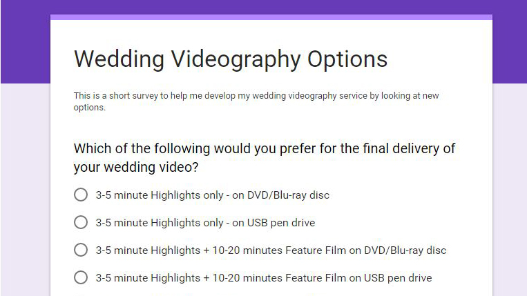 Wedding Videography Options Survey
