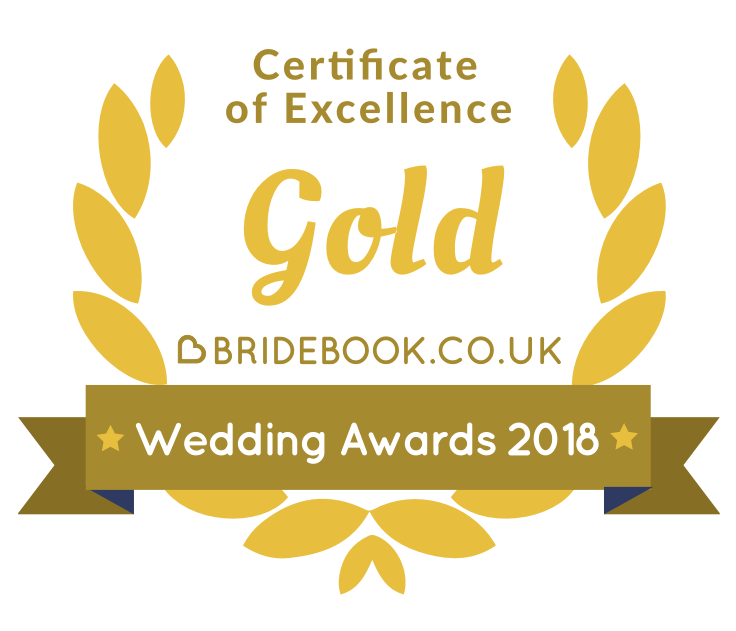 I won the Gold Bridebook Wedding Awards 2018 Badge of Excellence
