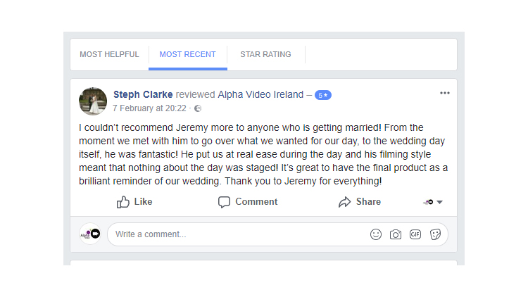 Stephanie & Conor's Wedding – Facebook Review