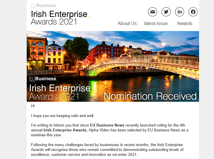 Nominated For Irish Enterprise Awards 2021